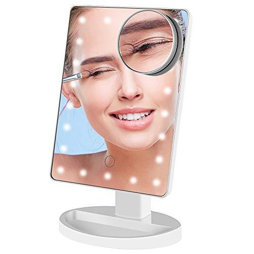 GERUIKE Specchio Trucco con Luci,Specchio Trucco con Ingrandimento 10X,Specchio con LED, Specchio per il Trucco Cosmetico, Touch Screen Ricaricabile USB