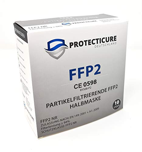 Hochwertige FFP2 NR Atemschutzmasken – 10 Stück – CE Zertifiziert (CE0598) Protecticure RY508-P2 - 3