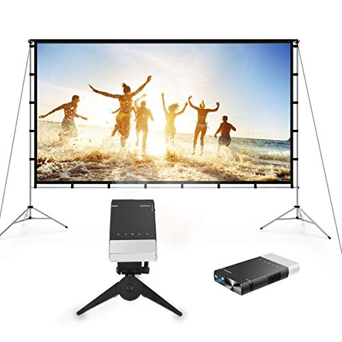 Vamvo Outdoor Movie System-Outdoor Indoor Projector Screen with Stand Foldable Portable 120 Inch with Ultra Mini Portable Projector 1080p Supported HD DLP LED Rechargeable Pico Projector