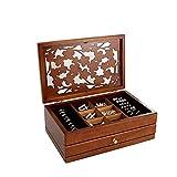 YIXINHUI Cajas de joyería Jewelly Box de Madera Collar de 2 Niveles Pulseras Box Reloj de Almacenamiento Oganizer Regalo de cumpleaños con Espejo (Color : Walnut)