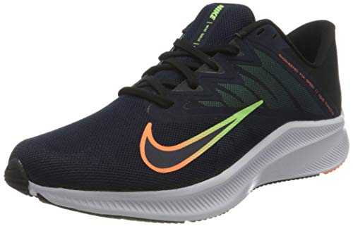 Nike Herren Quest 3 Running Shoe, Obsidian/Atomic Orange-Black-Lime Glow, 40 EU