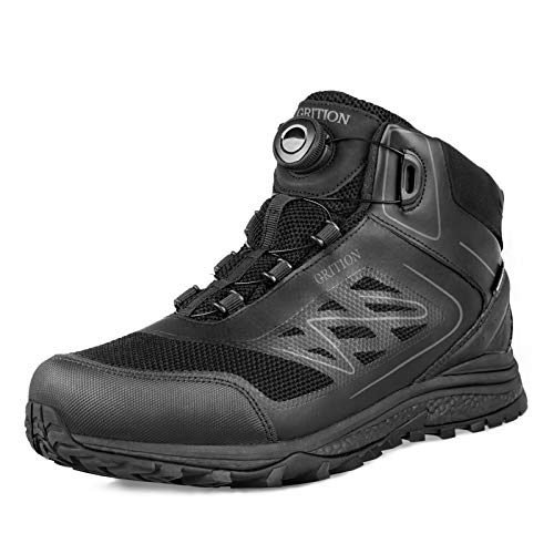 GRITION Mens Hiking Boots Waterproof, Breathable Lightweight Winter Mid Ankle Boots for Backpacking Trekking Outdoor Mountaineering Black with BOA Lacing Boots System 11.5 US