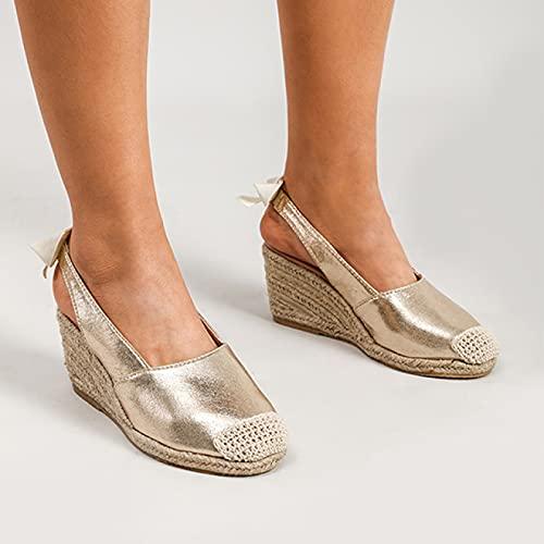YNSNWBD Sandalias Gótico Zapatos de Cuña de las Señoras Sandalias de Cuña de los Pies de Plataforma Abierta Zapatos de Lona Sandalias Femeninas en Forma de Serpiente Tejidas
