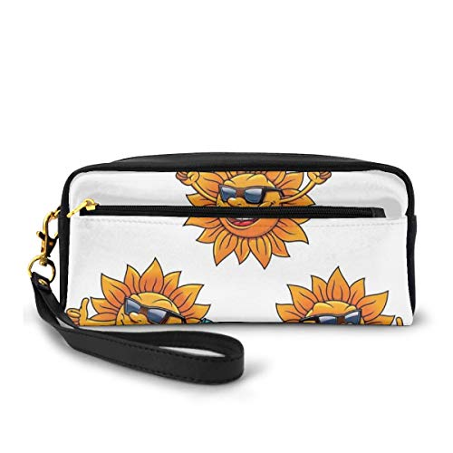Pencil Case Pen Bag Pouch Stationary,Surf Sun Characters Wearing Shades and Surfboards Fun Hippie Summer Kids Decor,Small Makeup Bag Coin Purse