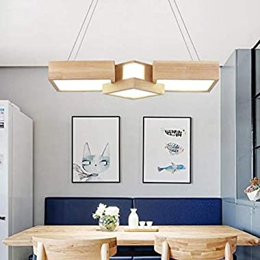 SUSUO LED Chandelier, Creative Kitchen Island Lighting Modern Chandeliers for Dining Rooms Faux-Wood Irregular, 26