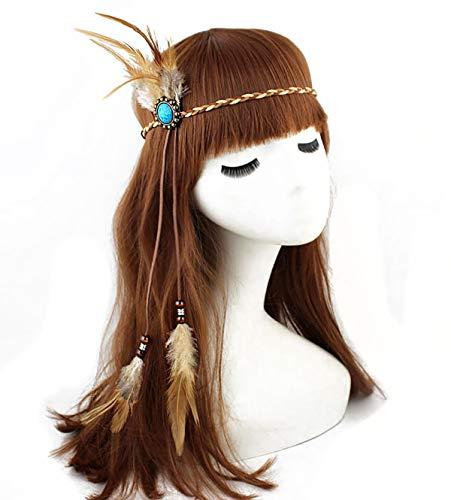 Damen Kopfschmuck Indische Feder mit blauen Edelsteinen Gypsy Hippie Feder Stirnband Bohemian Kopfbedeckung Kopfschmuck Tribal Fascinator Feder Haarband