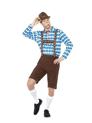 Smiffys 49658L Smiffy's bayrischer Biermann Kostüm, Blau/Braun, L - Size 42