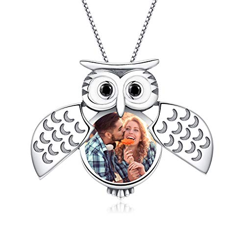 Sterling Silver Owl Locket Necklace That Holds Pictures Guardian Owl Wings Locket Pendant Gift for Women Girl Always in My Heart Photo Lockets Keepsake Gift(Locket Necklace-2)