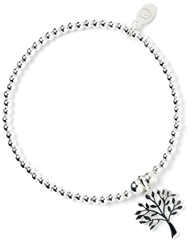 bumble beads Sterling Silver 'Rice & Noodle' Ball Bead Bracelet with Tree of Life Charm