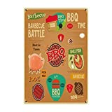 Barbacoa Parrilla Pescado Carne Fresca Hierro Pintura Placa de Metal Cartel de Chapa Retro Vintage Bar Jardín Decoración de la Pared 8x12 Pulgadas