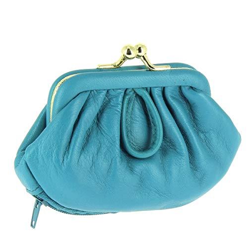 Karl Loven - Monedero para mujer, estilo retro con cierre Clic Clac de piel de cordero con 3 compartimentos para monedas – Billetes – Tarjeta azul + tarjetero RFID