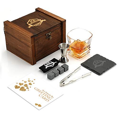 Caja de regalo de piedra de whisky, vaso de whisky y piedra de granito, caja de regalo de whisky escocés, padre y esposo, el mejor regalo de vacaciones para hombres y mujeres