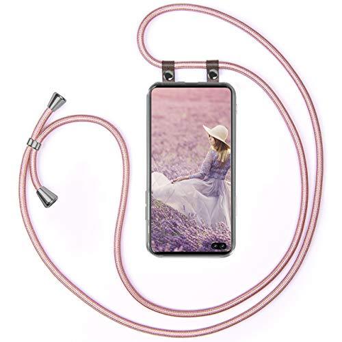moex Handykette kompatibel mit Samsung Galaxy S10 Plus Hülle mit Band Längenverstellbar, Handyhülle zum Umhängen, Silikon Hülle Transparent mit Kordel Schnur abnehmbar in Rosegold