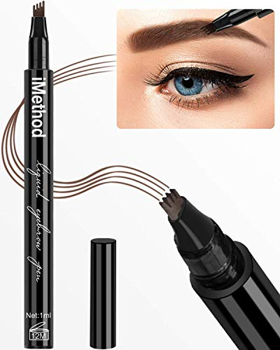 iMethod Eyebrow Pen - iMethod Eye Brown Makeup, Eyebrow Pencil with a Micro-Fork Tip Applicator Creates Natural Looking Brows Effortlessly and Stays on All Day, Dark Brown
