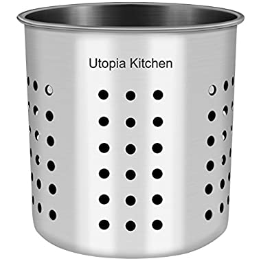 Kitchen Utensil Holder - Utensil Container - Utensil Crock - Flatware Caddy - Brushed Stainless Steel Cookware Cutlery Utensil Holder with Drain Holes - By Utopia Kitchen