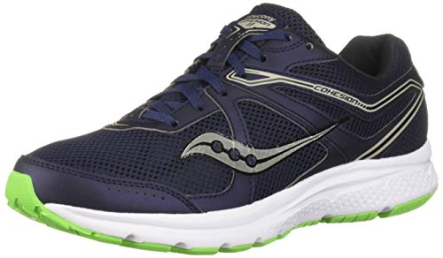 Saucony Men's Cohesion 11 Running Shoe, Navy/Slime, 9.5 M US