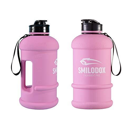 SMILODOX Trinkflasche Unisex Sport Fitness Gym Training Wasserflasche Bottle - 1,3l, Farbe:Rosa
