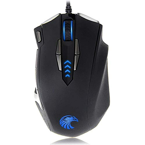 Z-7900 Wired Gaming Mouse , 13 Programmable Buttons (8+5 Side Buttons), RGB Backlit, Marco, 10000 DPI Adjustable, Comfortable Grip Ergonomic Optical Gaming Mice with Tunable Weights, Black (Renewed)