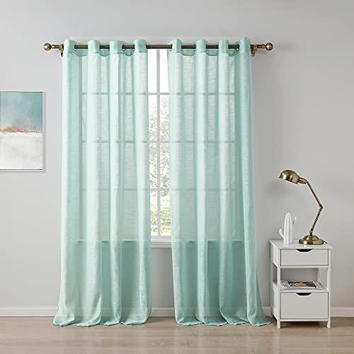 Lsimeru Mint Gardinen Transparent mit Ösen Elegant Luxus 2er Set Vorhäng Ösenschal Durchsichtig Ösenschal Dekoschal für Wohnzimmer Schlafzimmer,140x220