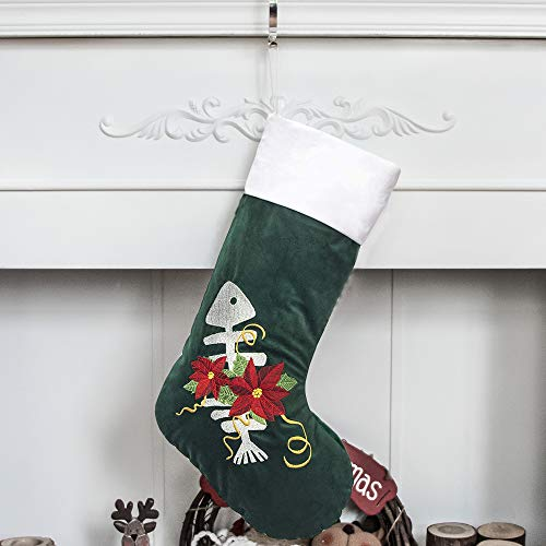 GEX Christmas Stockings for Cat 22' Embroidery Classic Luxury Velvet Large Hanging Ornament Decorations for Fireplace Xmas Tree Holiday Party (Set of 1)