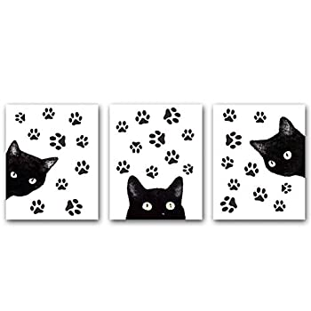 """QXNRT Set of 3 Animal Cat Wall Art Prints,Fun Poster with Black Cat and Claw Lovely Cat Wall Art Canvas for Living Room Home Decor.Gift Unframed,8""""X10""""inches ."""