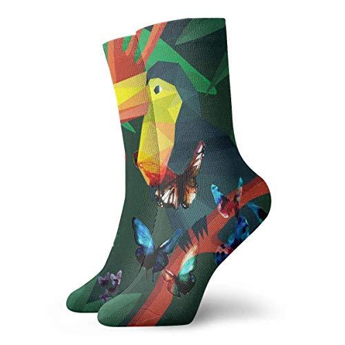 WH-CLA Cartoon Origami Tiere Tukan Tropischen Stil Lustige Socken Herren Bunt,Einzigartige Foto Socken,Funny Socks Für Damen,Herren&Kinder Socken 30Cm Zufällige Athletische Tägliche Sportsocken
