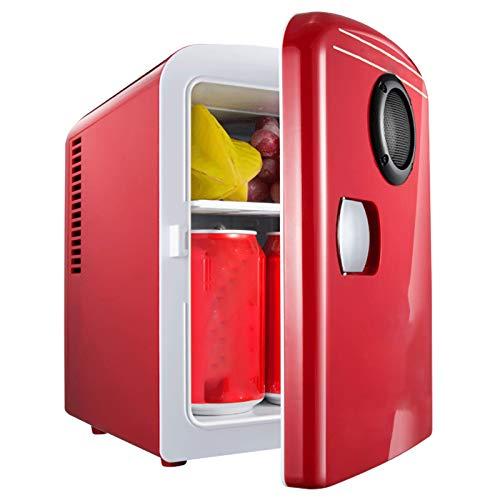 HALIGHT Mini refrigerador, 4 litros AC/DC Enfriador y Calentador termoeléctrico portátil, Mini refrigerador con Altavoz Bluetooth, para el Cuidado la Piel, Alimentos, medicamentos, hogar y Viajes