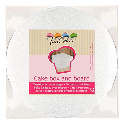 FunCakes Taartbox - cakedoos - Cake Box in wit met zilveren cake board - taartplaat