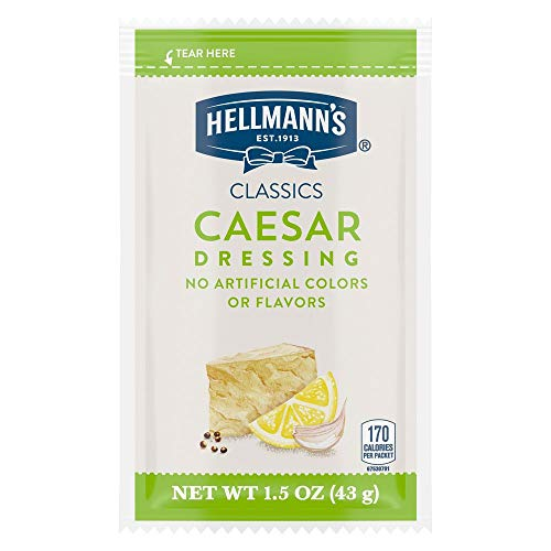 Hellmann's Classics Caesar Salad Dressing Portion Control Sachets Gluten Free, No Artificial Flavors, Colors or High Fructose Corn Syrup, 1.5 oz, Pack of 102