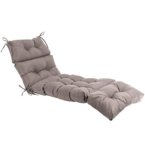 QILLOWAY Indoor/Outdoor Chaise Lounge Cushion,Spring/Summer Seasonal All Weather Replacement Cushions. (Tan/Grey)