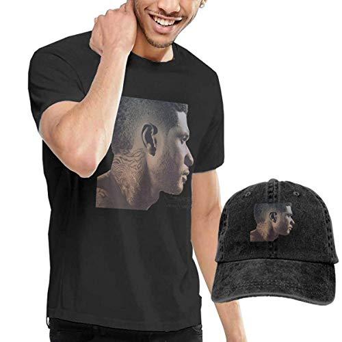 Thimd Herren T-Shirt und Kappe Schwarz, Usher Looking 4 Myself T-Shirt and Washed Denim Baseball Dad Cap Black