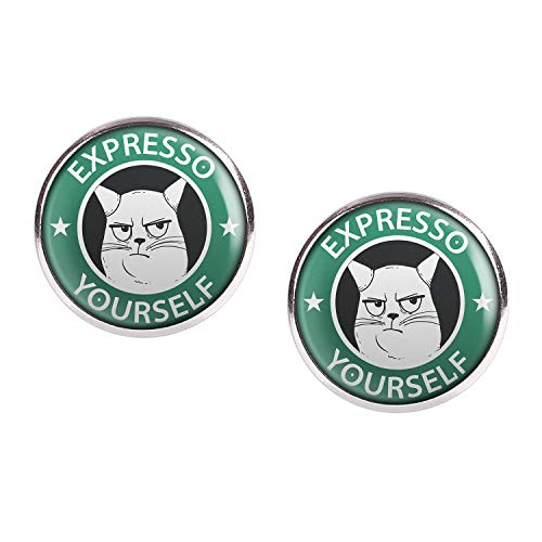 Mylery Ohrstecker Paar mit Motiv Expresso Yourself Katze silber 16mm