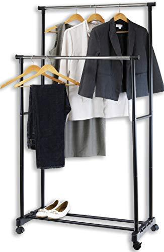 SimpleHouseware Double Rod Portable Clothing Hanging Garment Rack