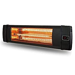 Vc 1500W Wall Mounted Infrared Heater, Indoor Heater with Remote Control for Room Garage (Black)