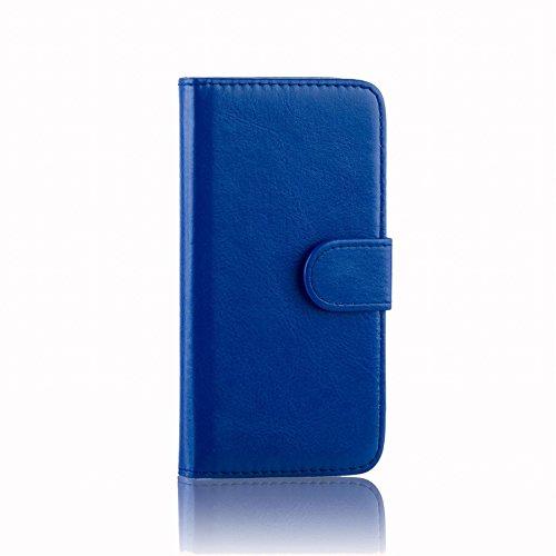 32nd® Funda Flip Carcasa de Piel Tipo Billetera para Alcatel Pixi 4 (4) con Tapa y Cierre Magnético y Tarjetero - Azul