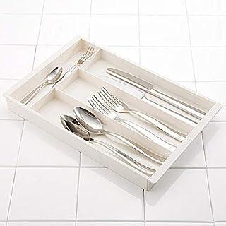 KEYUCA(ケユカ) エクステンドトレー N [W320~500×D210×H30mm] カトラリーケース [伸縮 調節可能/キッチン収納] ホワイト 引き出し ケース