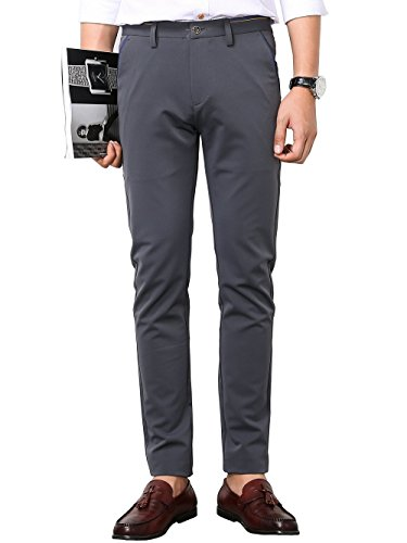 Men's Slim Fit Wrinkle-Free Casual Stretch Pants, Fit Flat Front Pant Dress Trousers