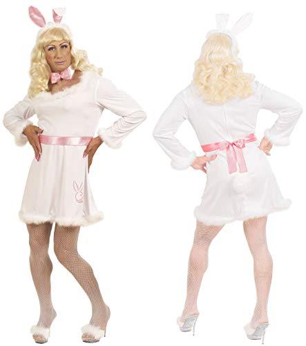 Party-Teufel® Komplett Kostüm Playboy Häschen Männer Kleid Fliege Hasenohren Blonde Perücke weiße Fischnetz-Strumpfhose Herren Hase Bunny Drag Queen Einheitsgröße Junggesellenabschied