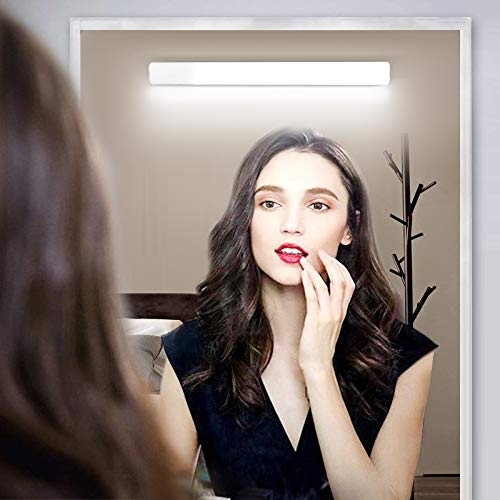 OOWOLF Aplique Espejo Baño LED,Luces Espejo Maquillaje 31cm ,Luces Tocador Maquillaje sin Cable 6000K 15 Niveles de Brillo Ajustables,Recargable por USB luz Espejo Baño. ⭐