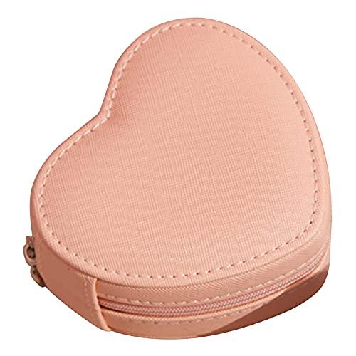 ZJHGQ Caja de joyería pequeña con forma de corazón de piel sintética para viajes, joyas, organizador de joyas, anillos, pendientes, collar, caja de regalo, color naranja y rosa