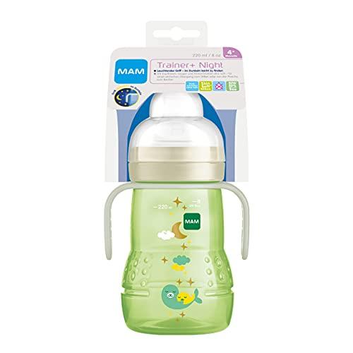 MAM Trainer+ Night Biberon d'apprentissage (220 ml), gobelet avec poignée lumineuse pour passer au gobelet, gobelet d'apprentissage avec tétine et bec anti-goutte, 4 mois et plus.