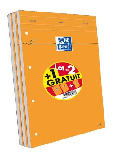 Oxford - Lotto di 3 Block Notes in Formato A4 +, Dimensioni: 21 x 31,5 cm, 160 Pagine, a Quadretti piccoli da 5 x 5 mm, perforati, Copertina Arancione