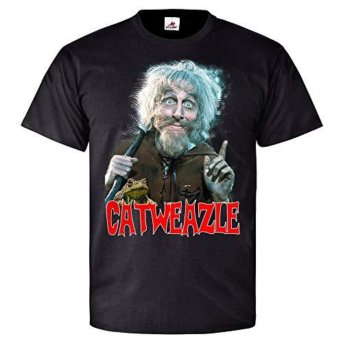 Catweazle Fernsehserie 70er Zauber Retro Kult Catwiesel Serie - T Shirt #26424, Farbe:Schwarz, Größe:Herren 3XL