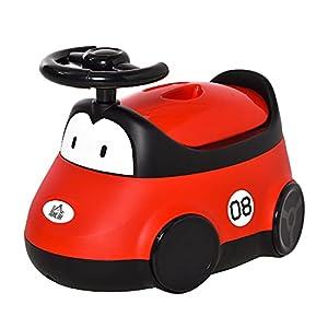HOMCOM Orinal para Bebé de 6-36 Meses WC Aprendizaje Entrenamiento Portátil en Forma de Automóvil con Tapa y Volante Fácil de Limpiar Carga 50 kg 40x27,5x29,1 cm Rojo