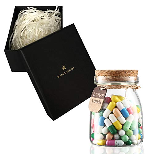 100 Pcs Cute Capsule Letters Message in a Glass Bottle with a Gift Box, Love Friendship Half Color...