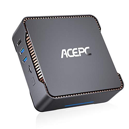ACEPC AK3 Mini PC,Intel Celeron N3350,4GB DDR3+64 GB eMMC,Windows 10 Pro,Apoyo 2.5   SATA SSD HDD,Dual WiFi 2.4 5G, Bluetooth 4.2,4K HD,2 HDMI+1 VGA +USB 3.0 Puerto Mini Ordenadores de sobremesa