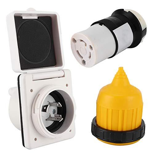 Nannigr RV Power Inlet,Netzkabelverriegelung,3pcs 30 AMP RV Power Inlet Kit Kabelendstecker Twist Lock US-Stecker mit Wasserdichter Abdeckung Passend für Wohnmobile, Boote & Andere Anwendungen