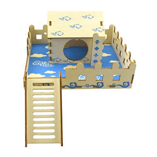 Y-POWER Pet Rat Hámster Villa Nido Cama Dormir Casa Plataforma Escalada Escalera Mini Escondite Diapositiva de Madera DIY Ensamblar Cabaña Pequeños Animales Juguetes Jaula Suministros