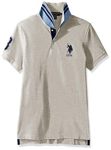 U.S. Polo Assn. Men's Short Sleeve Solid Slim Fit Pique Polo Shirt, Summer Oatmeal, XL