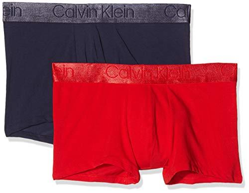 Calvin Klein Trunk 2pk Bañador, Azul (Deep Scarlet/Blue Noir Djl), Medium (Pack de 2) para Hombre